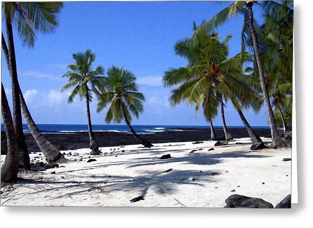Seaside Digital Art Greeting Cards - Pu uhonua O Honaunau Greeting Card by Kurt Van Wagner