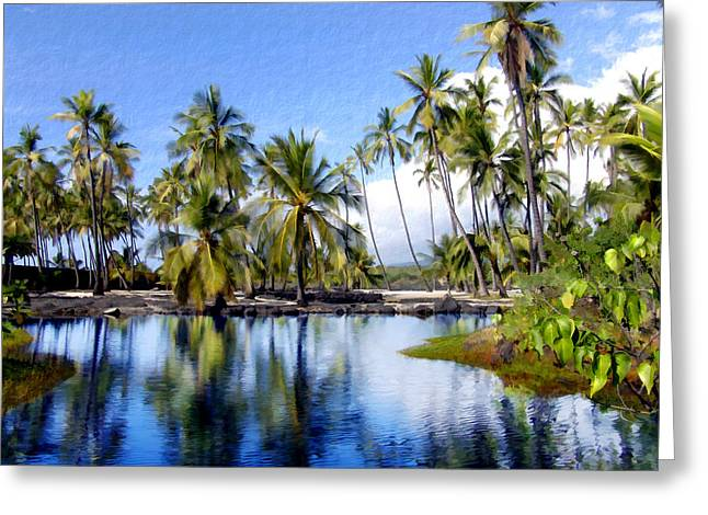 Palm Trees Greeting Cards - Pu uhonua O Honaunau pond Greeting Card by Kurt Van Wagner