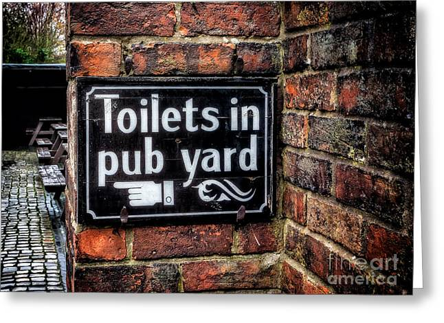 Outdoor Toilets Greeting Cards - Pub Sign Greeting Card by Adrian Evans