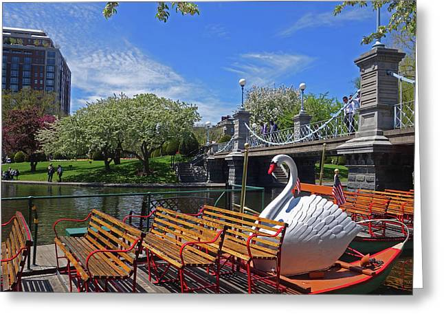 Public Garden Swan Boat In The Spring Boston Ma Greeting Card by Toby McGuire