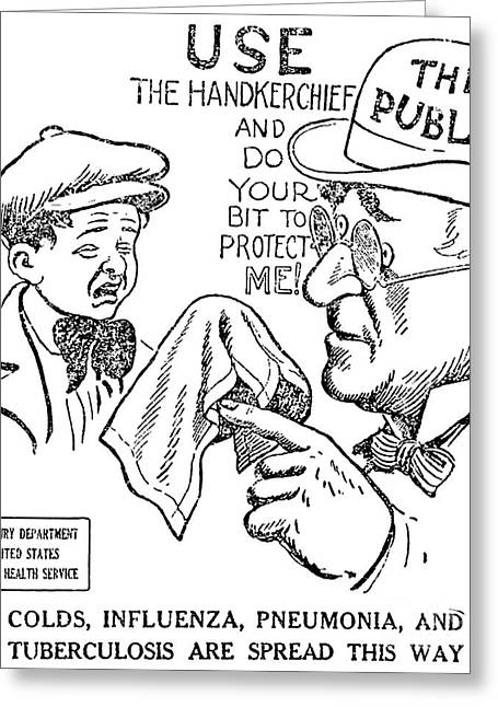 Public Health Greeting Cards - Public Health Warning, 1918 Greeting Card by Science Source