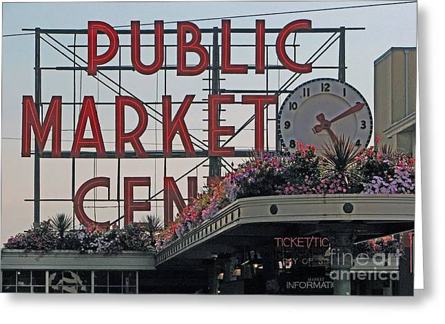 Mistymisschristie Greeting Cards - Public Market Greeting Card by Chris Anderson