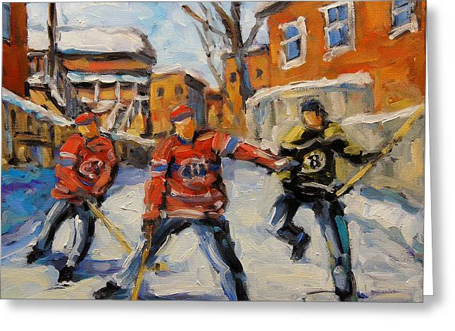 Kids Sports Paintings Greeting Cards - Puck Control Hockey Kids created by Prankearts Greeting Card by Richard T Pranke