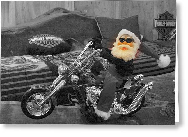 Pucker Up Harley Babes 5 Greeting Card by Marie Neder