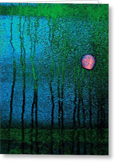Blue Green Water Greeting Cards - Puddle In The Night Greeting Card by Abbie Loyd Kern