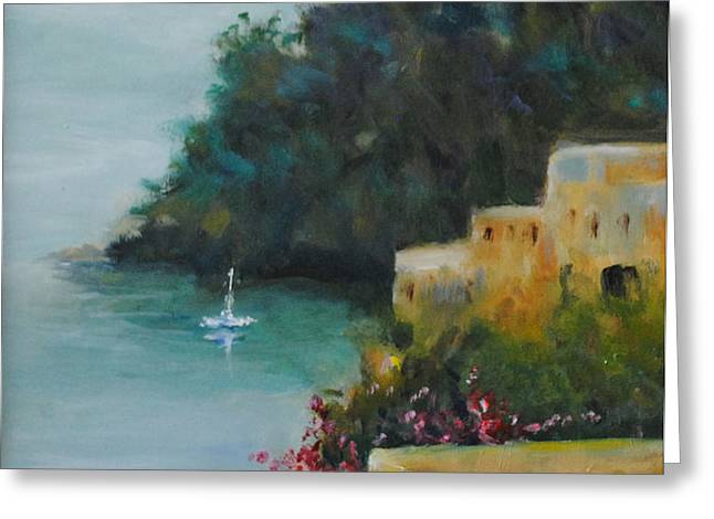 Pueblo Bay Greeting Card by Linda Hiller