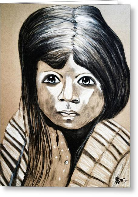 Pueblo Drawings Greeting Cards - Pueblo Girl Greeting Card by Angela Pari  Dominic Chumroo