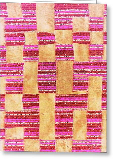 Red Abstracts Tapestries - Textiles Greeting Cards - Pueblo Greeting Card by Glenda Banta