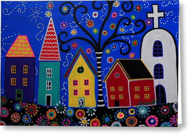 Pueblo I Painting Greeting Card by Pristine Cartera Turkus