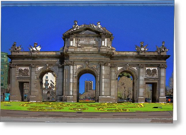 Entryway Greeting Cards - Puerta de Alcala Madrid Greeting Card by Joan Carroll