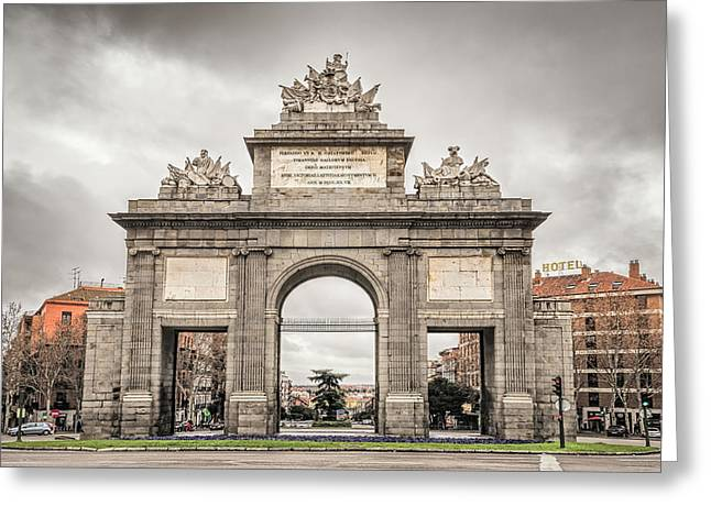 Puerta De Toledo Madrid Greeting Card by Joan Carroll