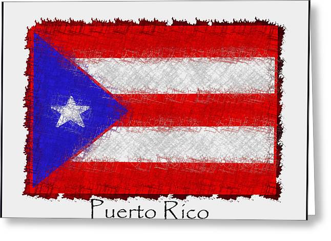 Puerto Rico Mixed Media Greeting Cards - Puerto Rican Flag Greeting Card by Kathy Franklin