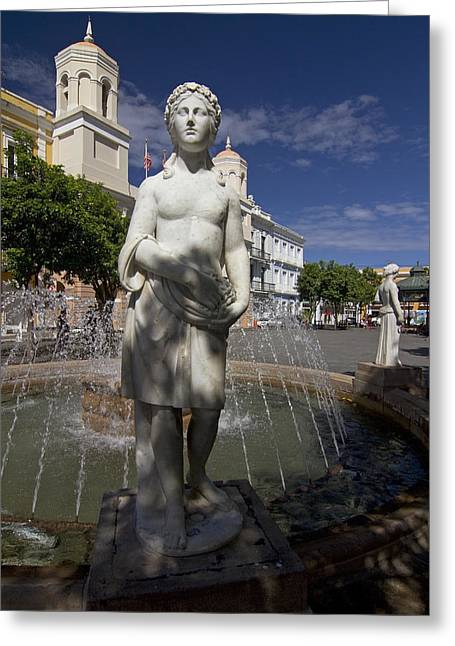 Puerto Rico Greeting Cards - Puerto Rican Fountain in a plaza scene Greeting Card by Sven Brogren