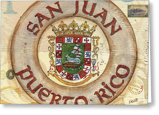 Puerto Rican Greeting Cards - Puerto Rico Coat of Arms Greeting Card by Debbie DeWitt