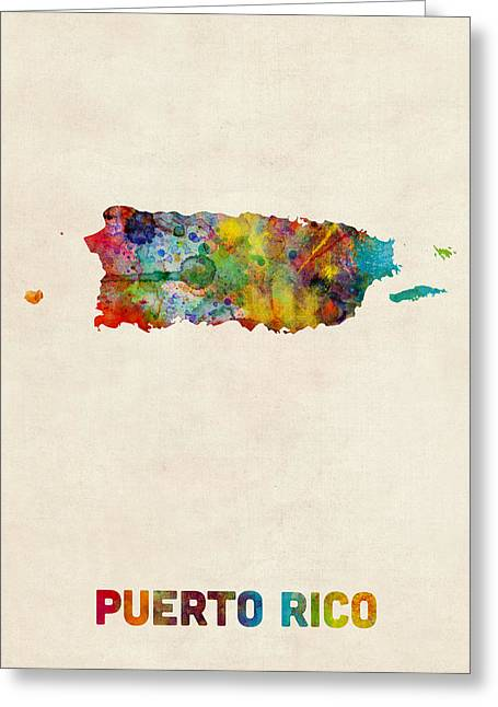 Puerto Rico Greeting Cards - Puerto Rico Watercolor Map Greeting Card by Michael Tompsett