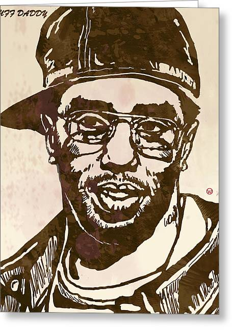 Daddy Greeting Cards - Puff Daddy Pop Stylised Art Sketch Poster Greeting Card by Kim Wang