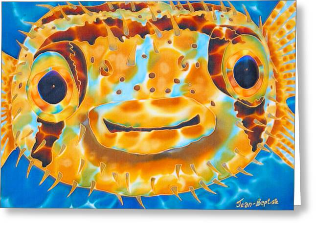 Marine Fish Tapestries - Textiles Greeting Cards - Puffer Fish Greeting Card by Daniel Jean-Baptiste