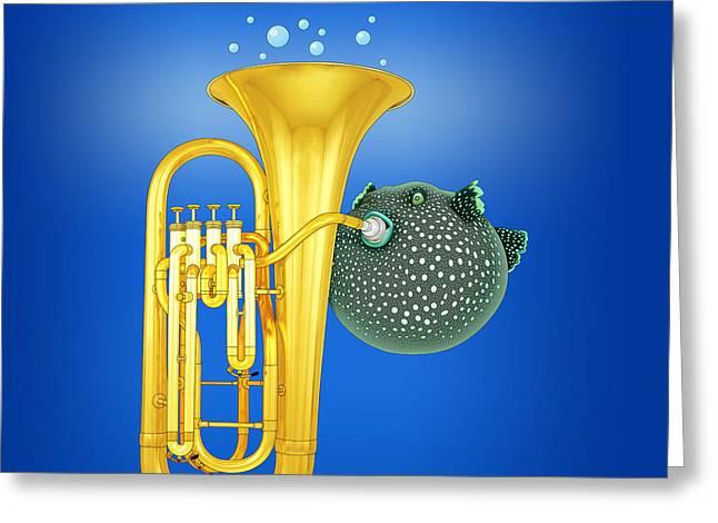 Puffer Fish Digital Greeting Cards - Puffer Fish Playing Tuba Greeting Card by Orna Artzi