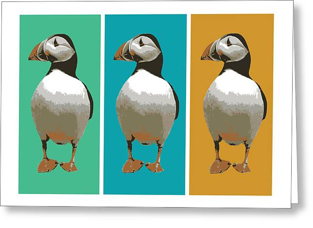 Birds Greeting Cards - Puffin Trio Pop Art Greeting Card by Michael Tompsett