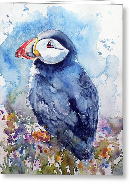 Puffin With Flowers Greeting Card by Kovacs Anna Brigitta