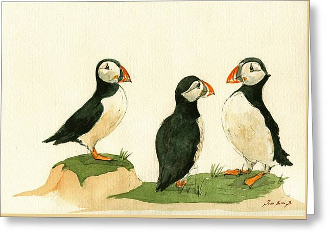 Puffins Greeting Card by Juan  Bosco