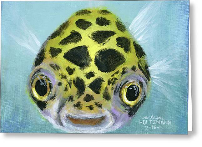 Green Spotted Puffer Fish Greeting Cards - Puffy Greeting Card by Arleana Holtzmann