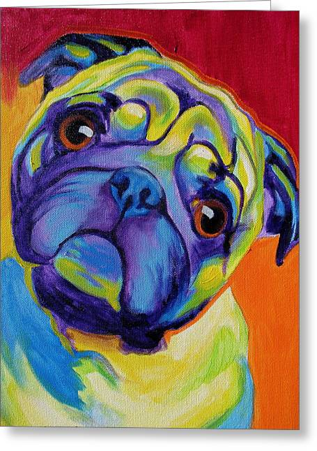Dogs. Pugs Greeting Cards - Pug - Lyle Greeting Card by Alicia VanNoy Call