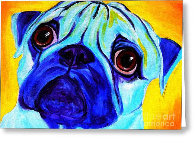 Pug Framed Prints Greeting Cards - Pug - Sweetie Pug Greeting Card by Alicia VanNoy Call