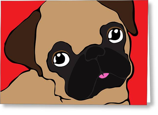 Puppies Digital Greeting Cards - Pug #1 Greeting Card by Ness Lau