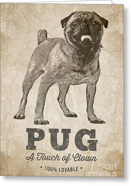 Pug A Touch Of Clown Greeting Card by Edward Fielding