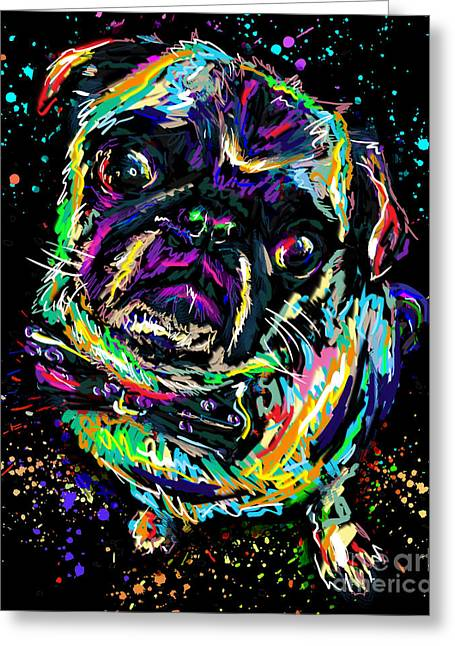 Pug Prints Greeting Cards - Pug Art Greeting Card by Ryan RockChromatic