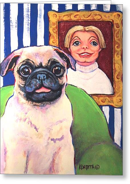 Owner Greeting Cards - Pug - Beth Ann and Butch Greeting Card by Rebecca Korpita
