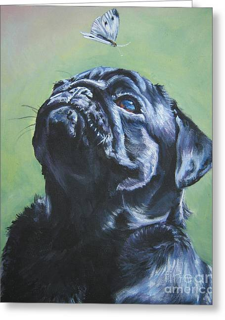 Puppies Paintings Greeting Cards - Pug black  Greeting Card by L A Shepard