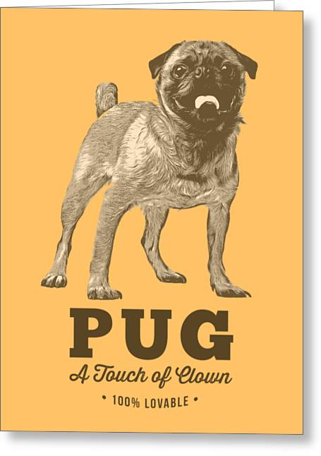 Puppies Digital Greeting Cards - Pug Dog Touch of Clown T-shirt Greeting Card by Edward Fielding