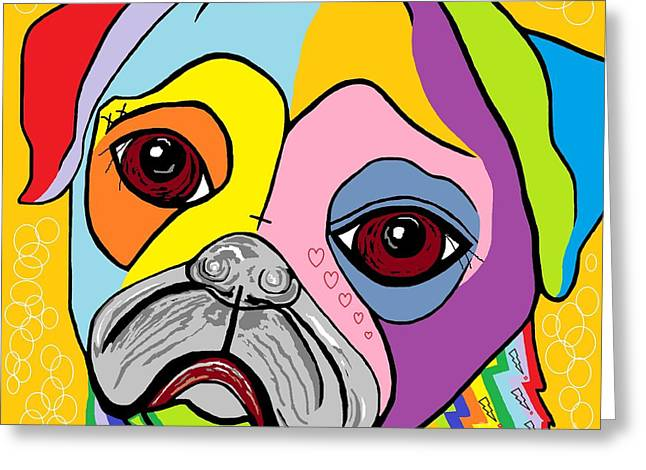 Doggies Greeting Cards - Pug Greeting Card by Eloise Schneider