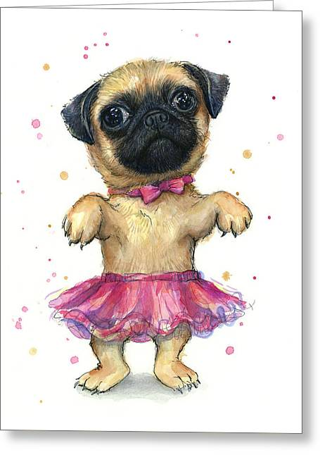 Pug In A Tutu Greeting Card by Olga Shvartsur