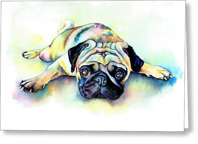 Puppies Greeting Cards - Pug Laying Flat Greeting Card by Christy  Freeman