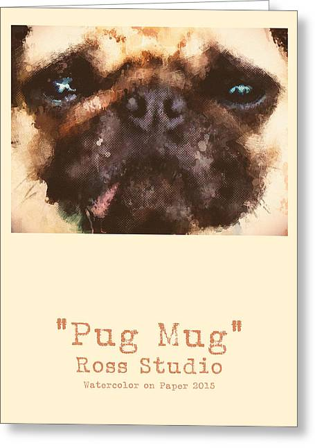 Puppy Digital Art Greeting Cards - Pug Mug Greeting Card by Anthony Ross