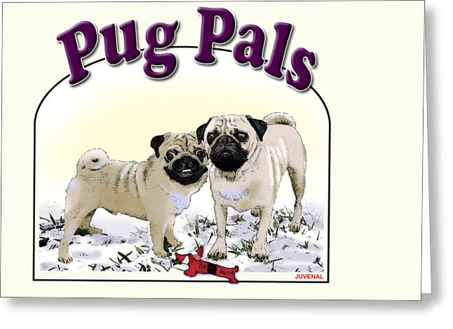 Toy Dog Greeting Cards - Pug Pals Greeting Card by Joseph Juvenal