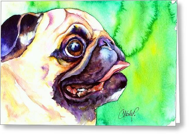 Puggle Greeting Cards - Pug Profile Greeting Card by Christy  Freeman