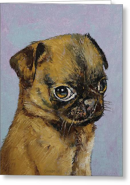 Pug Puppy Greeting Card by Michael Creese