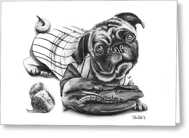Gloves Drawings Greeting Cards - Pug Ruth  Greeting Card by Peter Piatt
