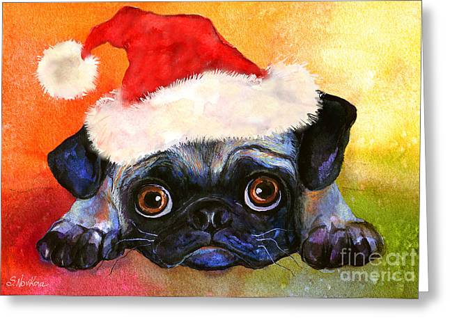 Pug Prints Greeting Cards - Pug Santa Portrait Greeting Card by Svetlana Novikova