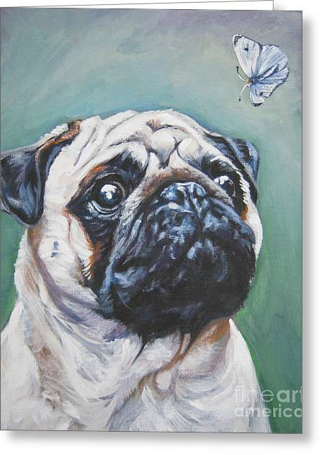 Pugs Greeting Cards - Pug with butterfly Greeting Card by Lee Ann Shepard