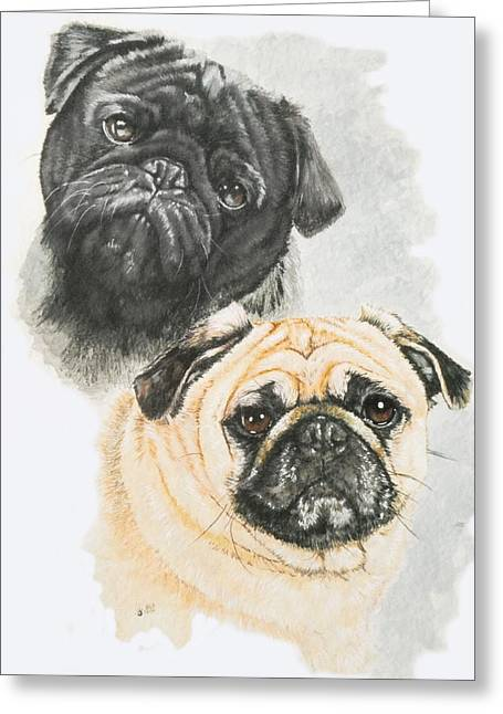 Toy Dogs Mixed Media Greeting Cards - Pugs Greeting Card by Barbara Keith