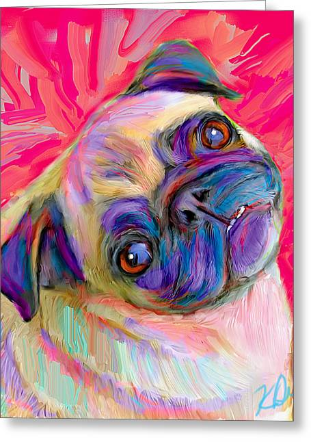 Dogs. Pugs Greeting Cards - Pugsly Greeting Card by Karen Derrico