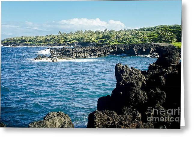 My Ocean Greeting Cards - Pukaulua Point Waianapanapa North Pacific Ocean Hana Maui Hawaii Greeting Card by Sharon Mau