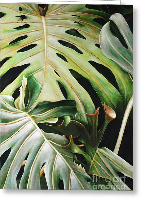 Philodendron Greeting Cards - Pulelehua Greeting Card by Sandra Blazel - Printscapes