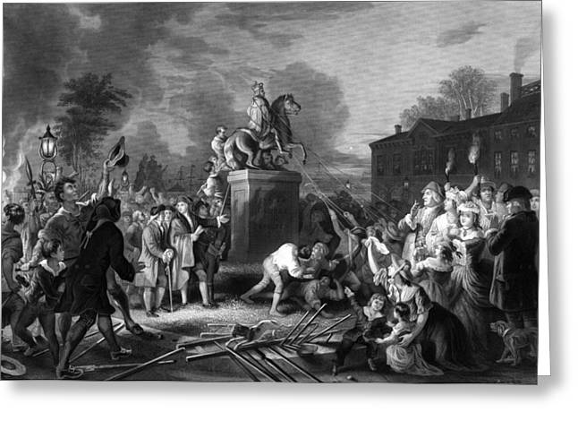 4th July Greeting Cards - Pulling down the statue of George III Greeting Card by War Is Hell Store