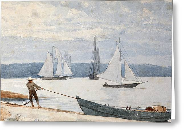 Pulling Greeting Cards - Pulling the Dory Greeting Card by Winslow Homer